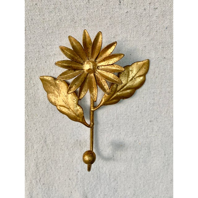 Vintage Gilded Italian Tole Floral Hook For Sale - Image 4 of 5