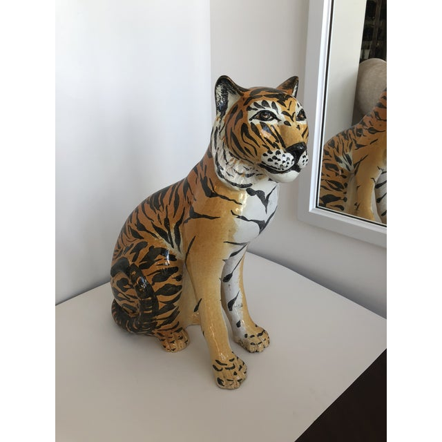 1960's Italian Terracotta Tiger, large size, nicely glazed. Made in Italy label inside.