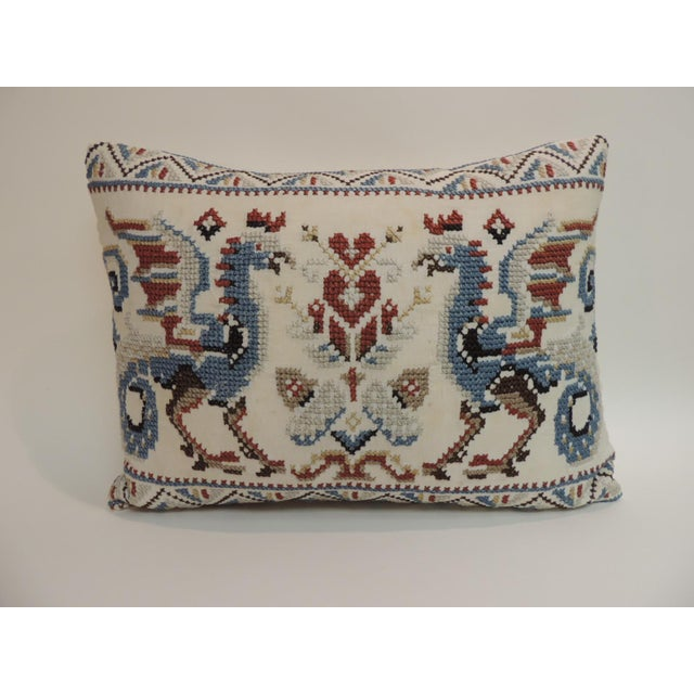 1920s Vintage Red & Blue Needlework Tapestry Bolster Decorative Pillow For Sale - Image 5 of 5