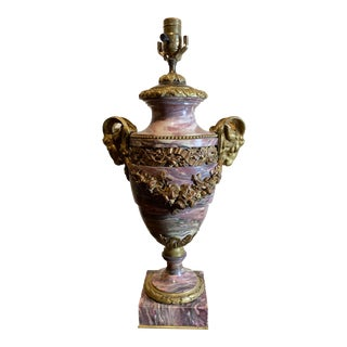 French Breche Violette Marble Urn Lamp With Gilt Rams Head and Swags For Sale