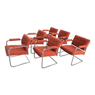 Vintage Mid Century Milo Baughman Style Chrome Cantilevered Dining Chairs- Set of 6 For Sale