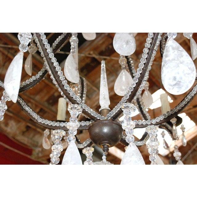 Large Six-Light Rock Crystal Chandelier For Sale - Image 9 of 10