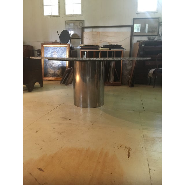 Mid-Century Modern Marble & Chrome Dining Table For Sale - Image 3 of 9