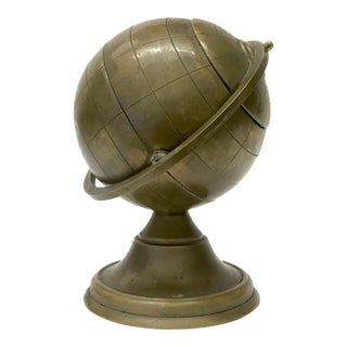 Vintage Brass Globe Ashtray