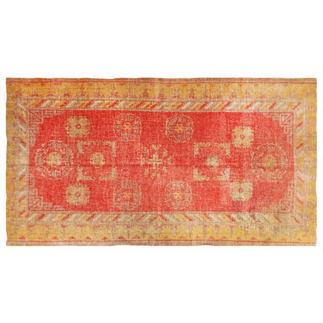 Antique Khotan Transitional Red and Yellow Wool Rug - 4′6″ × 8′4″ For Sale In New York - Image 6 of 6