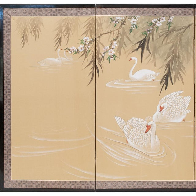 A lovely circa 1940-1960s 4-panel Japanese Byobu in Chinoiserie style depicting graceful swans in a pond, trees and...