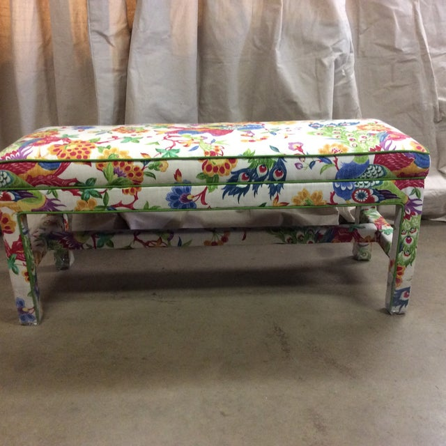 Upholstered Bench in Peacock Print Linen - Image 2 of 7