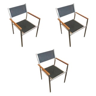 "Aluminum and Teak ""Ozon"" Armchairs by Royal Botania - Set of 3 For Sale"