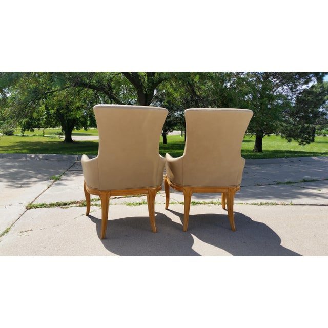 Vintage High Back Leather Armchairs - a Pair For Sale - Image 4 of 8