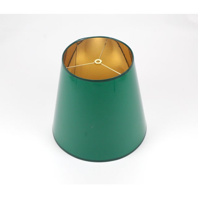 Lampshade Designs High Gloss Tapered Dark Green Lampshade With Gold Lining For Sale - Image 4 of 5