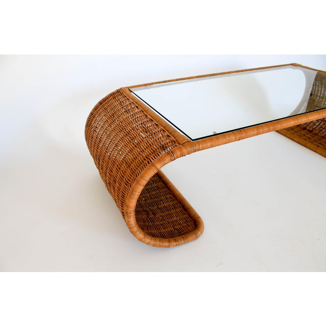1970s Scroll Wicker Coffee Table For Sale - Image 5 of 11