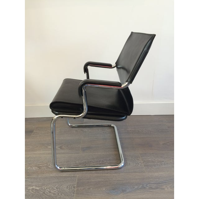 """Marcatre Black Leather & Chrome """"Uno"""" Chair For Sale - Image 9 of 10"""
