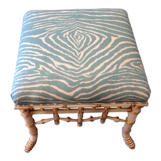 Chinoserie Faux Bamboo Ottoman Upholstered in Brunschweig & Fils Aqua Animal Print