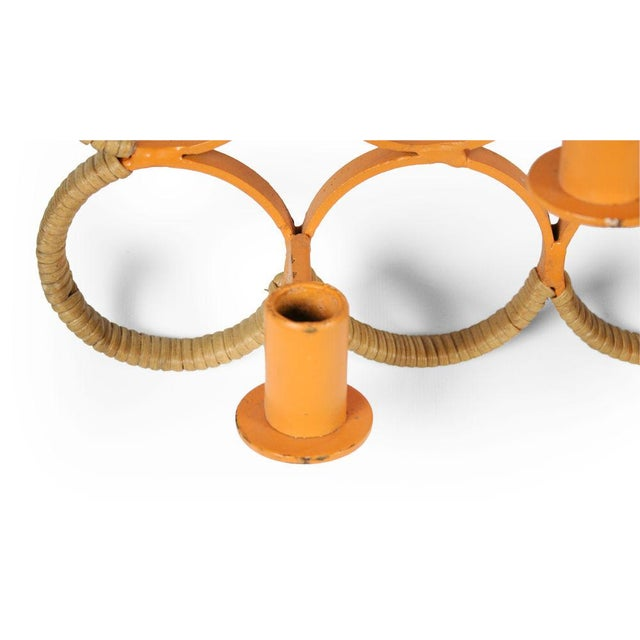 1950s Orange Lacquered Wrought Iron Wall-Mounted Candelabra For Sale - Image 5 of 9