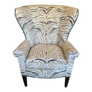 Vintage Zebra Print Upholstered Wingback Chair For Sale