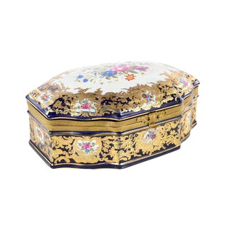 French Sevre Oval Porcelain Box For Sale