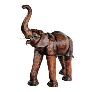 Folk Art Large Life-Size Vintage Leather Wrapped Elephant Sculpture For Sale