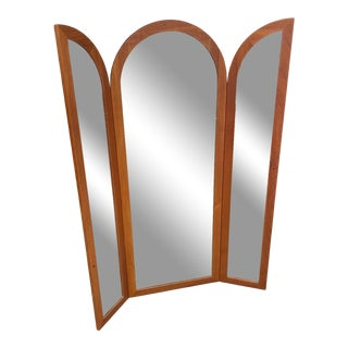 Danish Modern Teak Tri Fold Full Mirror For Sale