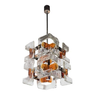 Mid-Century Modernist Handblown Murano Glass Chandelier by Mazzega For Sale