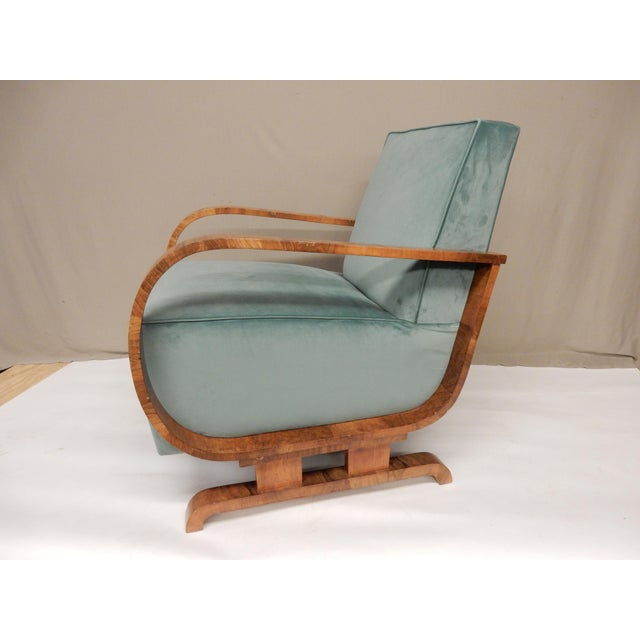 Art Deco 1930's Art Deco Upholstered Walnut Armchairs - a Pair For Sale - Image 3 of 7