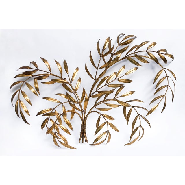 Vintage Italian Gilded Tole Leaves Wall Sculpture For Sale - Image 9 of 9