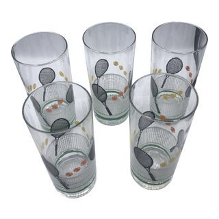 1980s Tennis Motif Highball Glasses - Set of 5 For Sale