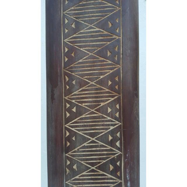 Brown Vintage Metal & Carved Wood Panels Room Divider Screen For Sale - Image 8 of 9