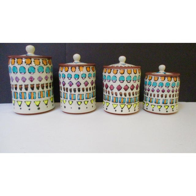 Hand Painted Italian Ceramic Canisters - Set of 4 For Sale - Image 11 of 11