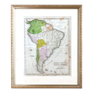 Antique Map of South America, Framed For Sale