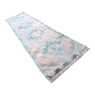 Distressed Oushak Rug Runner - Faded Colors Hallway Rug 3′8″ × 12′10″ For Sale