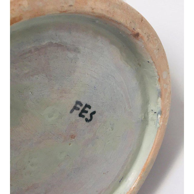 Moroccan Ceramic Blue Urn From Fez With Arabic Calligraphy For Sale - Image 10 of 12