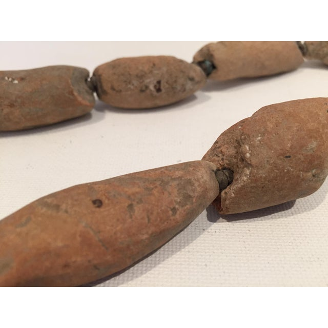 Antique African Tribal Chunky Terra Cotta Bead Necklace - Image 4 of 5