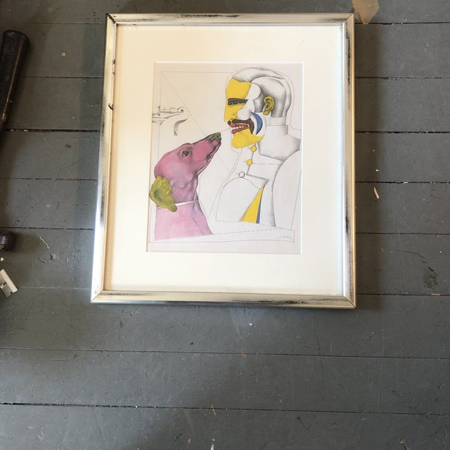 Paper Richard Lindner 1960's Surrealist Lithograph Man & Dog Signed Framed For Sale - Image 7 of 7