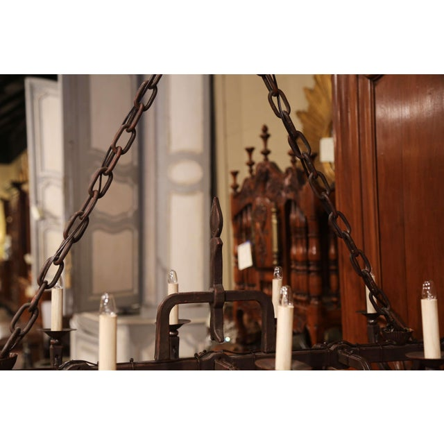 Early 20th Century French Forged Iron Ten-Light Chandelier For Sale - Image 9 of 11