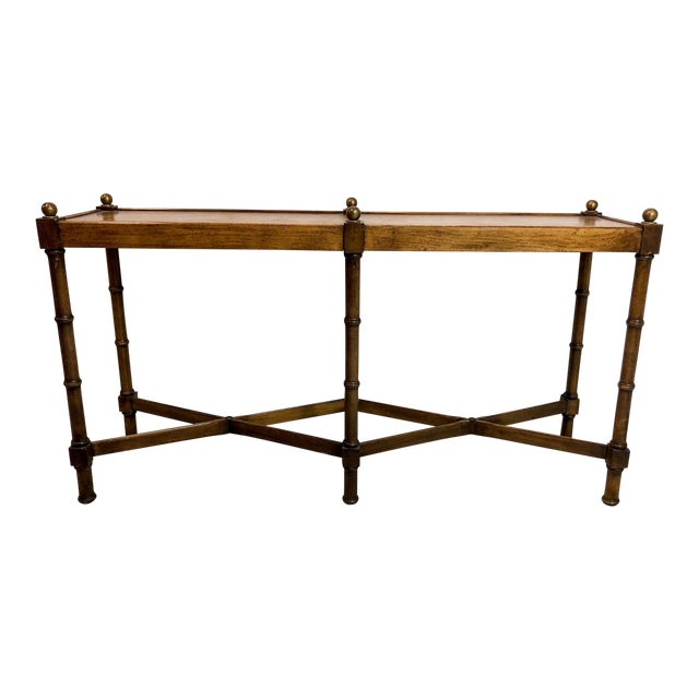 Faux Bamboo Console Table by Brandt For Sale