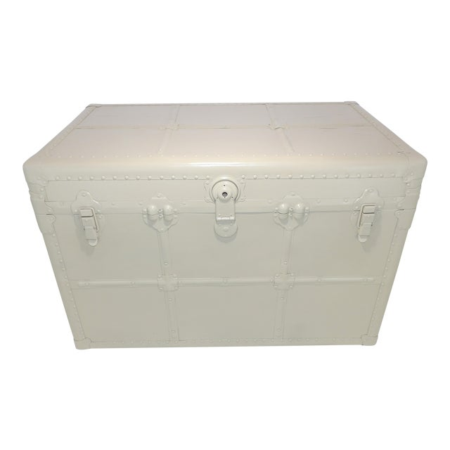 1800's Antique Steamer Trunk Storage Coffee Table Monochromatic Beige For Sale