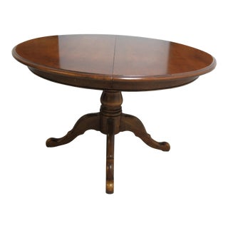 French Country Ethan Allen Pedestal Dining Room Table For Sale