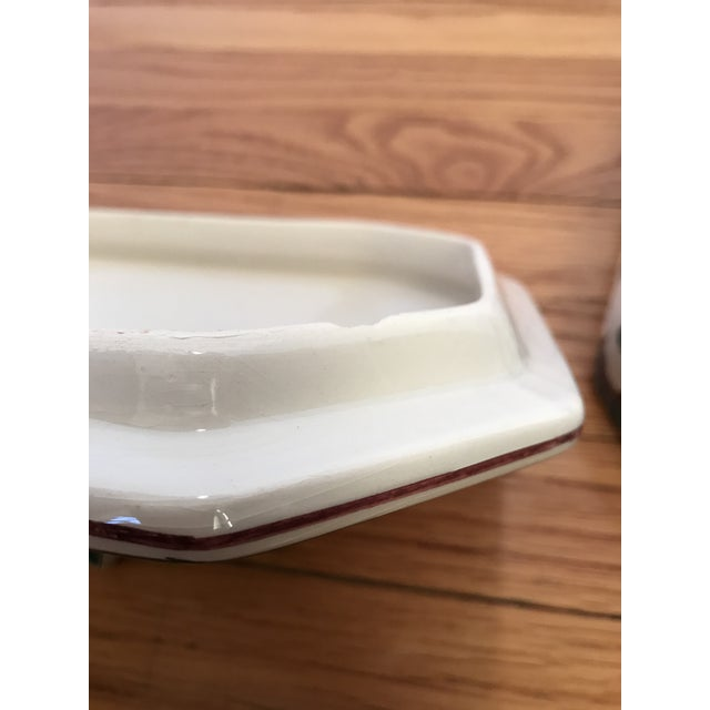 Hand Painted Ceramic Lidded Tureen With Under Plate & Ladle For Sale - Image 11 of 12