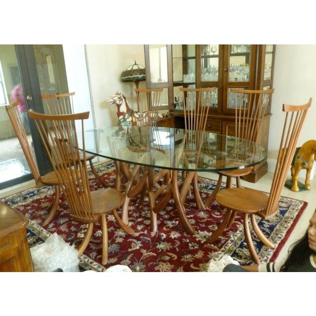 Adirondack Jeffrey Greene Nakashima Protege Wood & Glass Top Table Dining Set For Sale - Image 3 of 11
