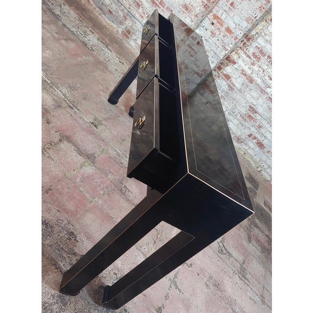 Fine Black Lacquer Console Table With 3 Drawers For Sale - Image 4 of 10