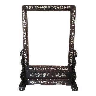 Antique Chinese Mother of Pearl and Rosewood Dressing Table Vanity or Shaving Mirror For Sale
