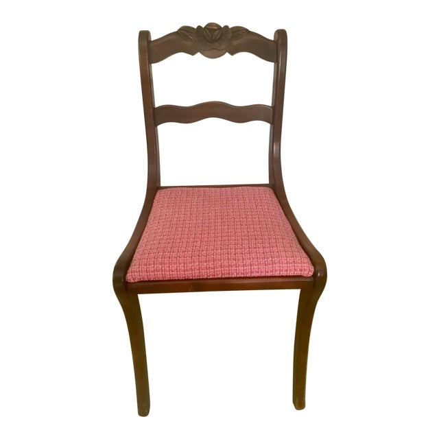 Antique Hand Carved Rosette Floral Back Mahogany Chair For Sale
