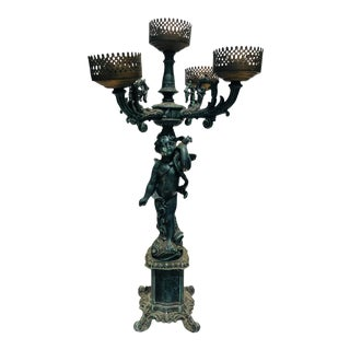 Italian Bronze and Iron Cherub Candelabra For Sale