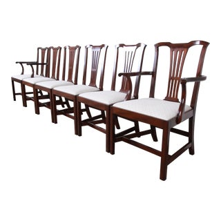 Kittinger Chippendale Style Mahogany Dining Chairs, Set of Six For Sale