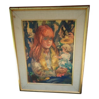 Original Lady Portrait Doll Victor Ruzo Mid Century Modern Watercolor For Sale