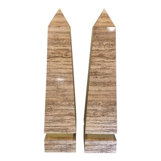 Monumental Faux Travertine Laminate Obelisks - A Pair For Sale