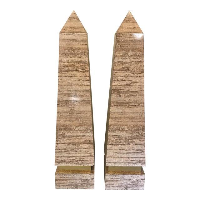 Monumental Faux Travertine Laminate Obelisks - A Pair For Sale