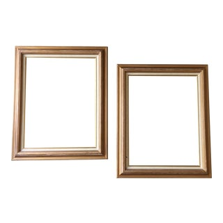 Contemporary Gold Wood Linen Matted Frames - a Pair For Sale