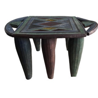 "African Lg Colorful Nupe Stool / Table Nigeria 12.25 H by 20.5"" W For Sale"