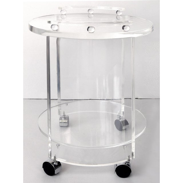 Round Lucite Bar Cart on Casters For Sale - Image 4 of 11